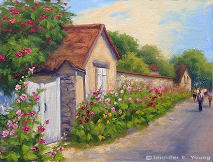 """""""Promenade sur la Rue Claude Monet"""" Oil on linen, 11x14"""" ©Jennifer Young"""