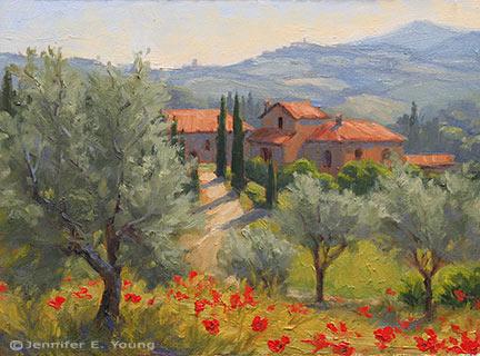 """Benvenuti in Toscana"" Oil on Canvas, 9x12"" (SOLD) ©Jennifer Young"