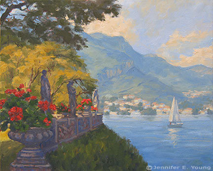 """""""View From Balbianello Gardens"""" Oil on linen, 16x20"""" (SOLD) ©Jennifer Young"""