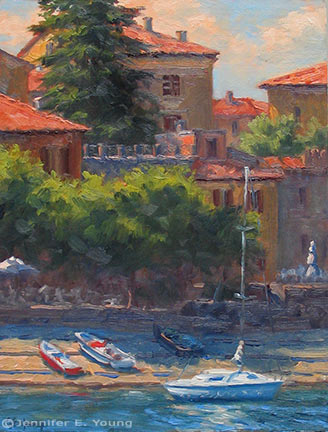 """Varenna Harbor"" Oil on Linen, 16x12"" (SOLD) ©Jennifer Young"