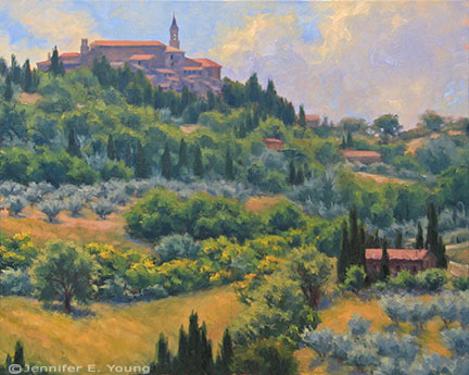 """Pienza Hillside"" Oil on Linen, 24x30"" (SOLD) ©Jennifer Young"