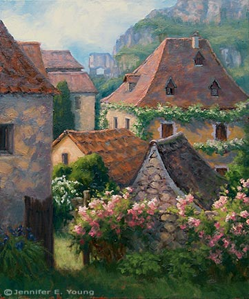 """Rooftops, St. Cirq Lapopie"" Oil on Linen, 30x24"" (SOLD) ©Jennifer Young"