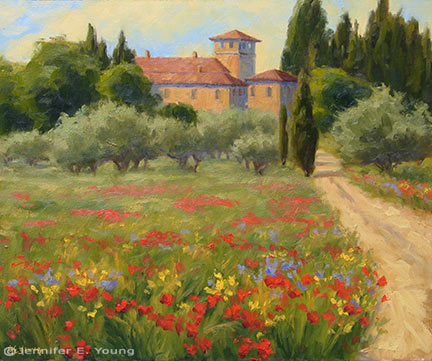 """Wildflowers in the Grove"" (Tuscany) Oil on Linen, 20x24"" (SOLD) ©Jennifer Young"