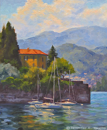 """Gilded Afternoon, Lake Como"" Oil on linen, 24""x20"" (SOLD) ©Jennifer Young"