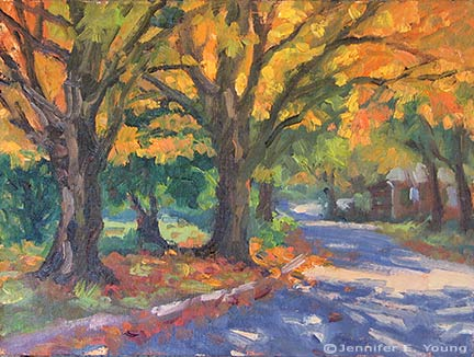 """October Maples"" Oil on Linen, 9x12"" ©Jennifer Young"