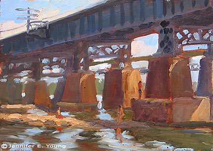 """Bathers on the James""  Oil on Panel, 9x12"" ©Jennifer Young"