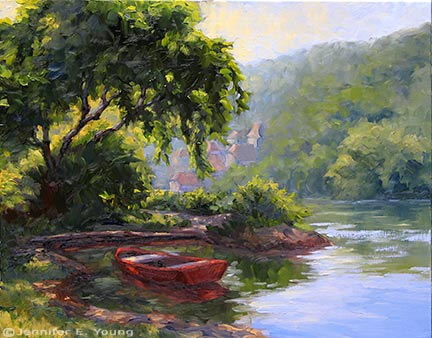 """Le Bateau Rouge"" Oil on Linen, 24x30"" (SOLD) ©Jennifer Young"