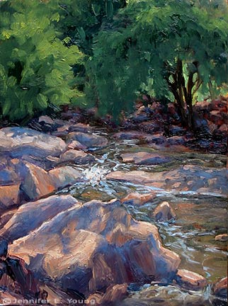 """The Brook"" Oil on birch panel, 12x9"" ©Jennifer Young"