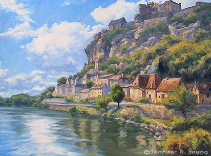 """Beynac"", Oil on Canvas, 36x48"" ©Jennifer Young"