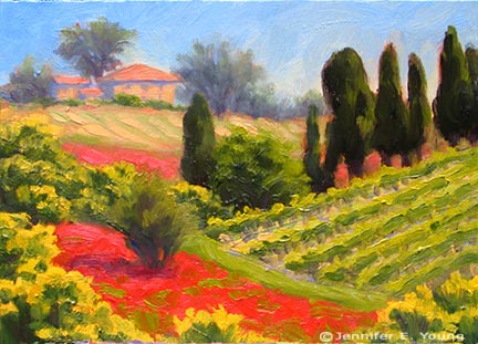 """Tuscan Patchwork"", Oil on canvas, 6x8"" (SOLD) ©Jennifer Young"