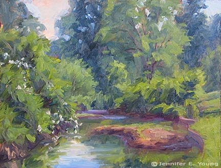 """A Bend in the Pond"" Oil on Board, 9x12"" ©Jennifer Young"