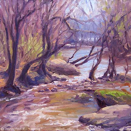"""Downstream"" Oil on Linen, 12x12""  ©Jennifer Young"