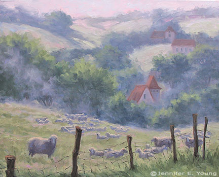 """Early Risers, Southern France"" Oil on Linen, 24x30 (SOLD) ©Jennifer Young"