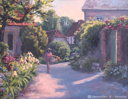 """Light and Shadow, Frayssinet, France"" Oil on Canvas, 24x30"" (SOLD) ©Jennifer Young"