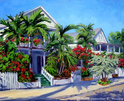 """A Place in the Sun"", Key West Oil on Canvas, 16x20"" ©Jennifer Young"