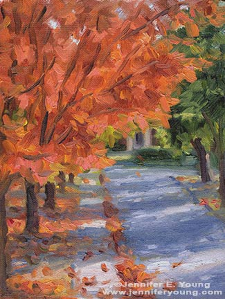 """Falling Leaves on Wilmington Avenue"" Oil on Canvas, 6x8"" ©Jennifer Young"