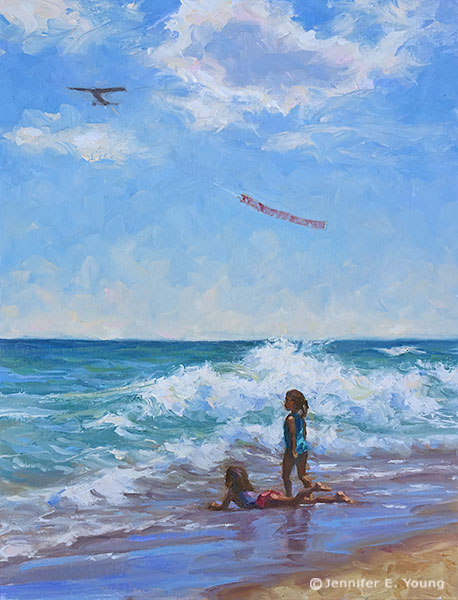 """Little Mermaids"", Oil on linen, 12x9"" ©Jennifer Young"
