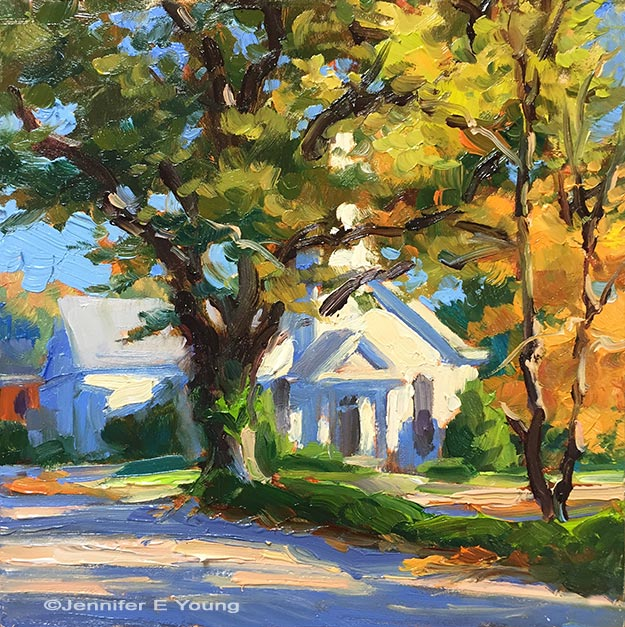 """In Autumn Light"", Oil on Board, 6x6"" ©Jennifer Young"