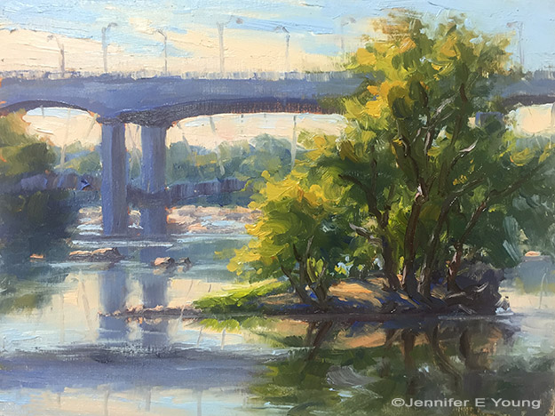 """Lee Bridge"", ©Jennifer Young. Oil on board, 6x8"" (SOLD)"