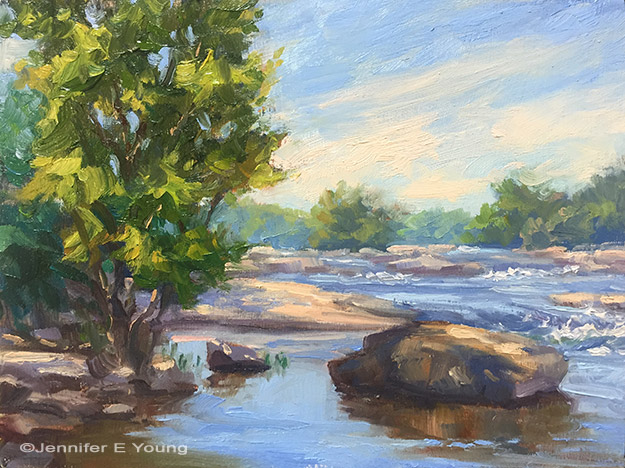 """The Falls at Belle Isle"", ©Jennifer Young. Oil on board, 6x8"" $395.00 (framed)"