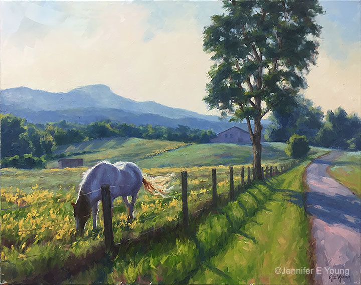 """Pasture in Evening Light"", Oil on linen, 24x30"" ©Jennifer E Young"