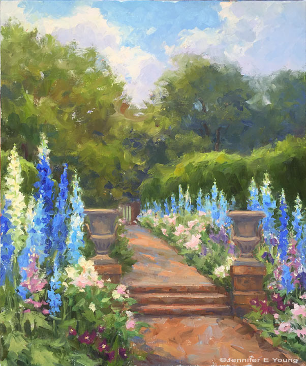 """Delphinium Walk"", Oil on linen, 24x20""  ©Jennifer E Young"