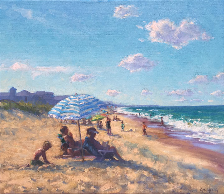 """Surfside"", Oil on linen, 20x24"" ©Jennifer E Young"
