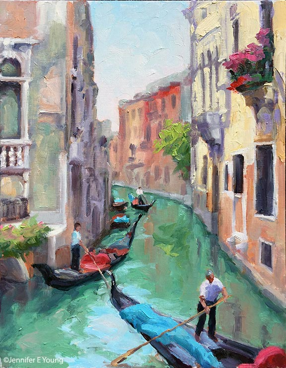 """Venetian Byway"", Oil on linen, 14x11"" ©Jennifer E Young"