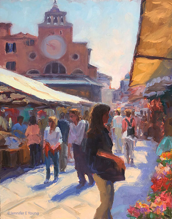"""Il Mercato Veneziano"", Oil on linen, 14x11"" ©Jennifer E Young"