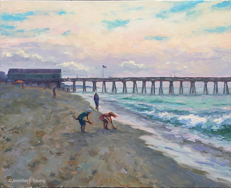 """Treasure Hunting at Avalon Pier"", Oil on linen, 24x30"" ©Jennifer E Young"
