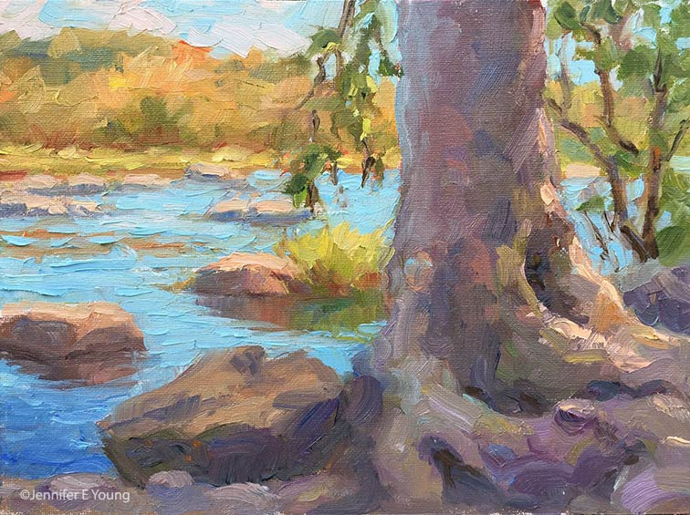 "* SO LD*  Autumn Morning on the James River"", Oil on canvas, 6x8"" ©Jennifer E Young"