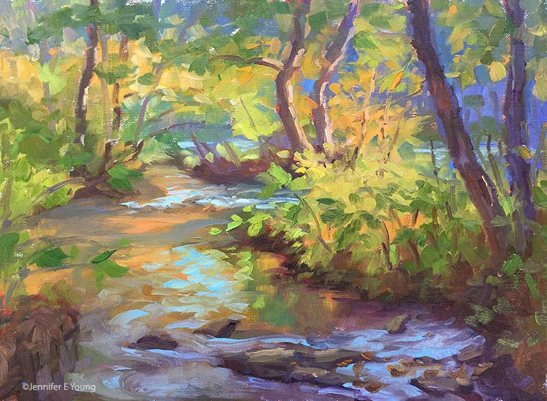 """Autumn on the South Anna River"", Oil on linen, 9x12"" ©Jennifer E Young"