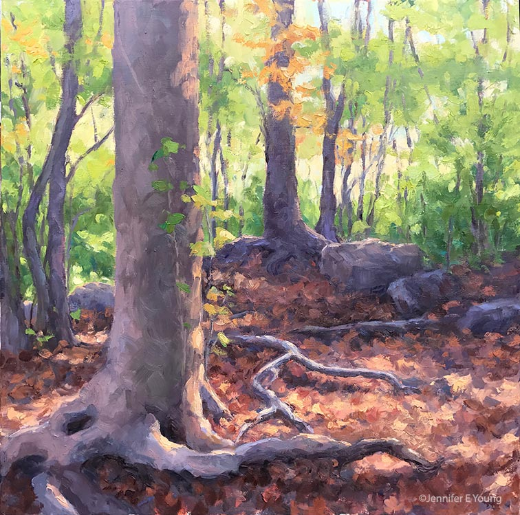 """Woodland Spirits,"" Oil on linen, 24x24"" Jennifer E Young"