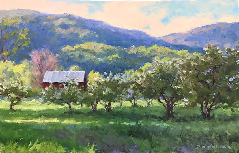 """Last Light on the Orchard"", Oil on linen, 24x36"" ©Jennifer E Young"