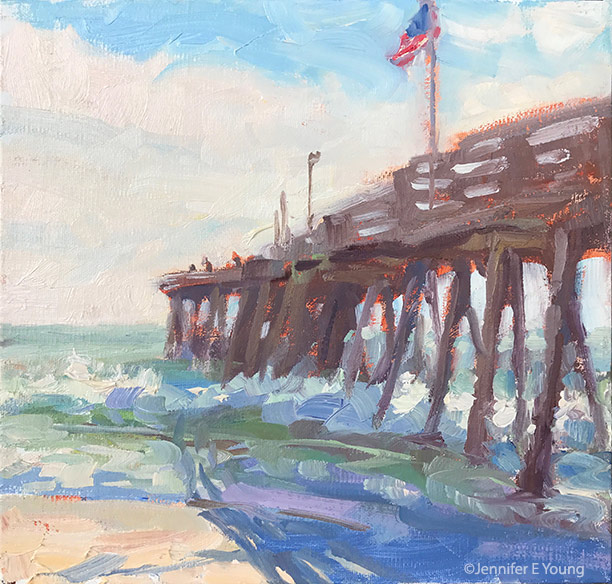 """In the Shadows of the Pier"" Oil on linen, 8x8"" ©Jennifer Young"