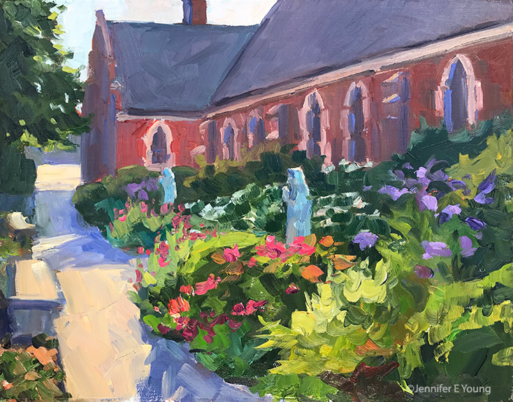 """Garden Contemplation, St. Bridget's"" Oil on linen, 11x14"""