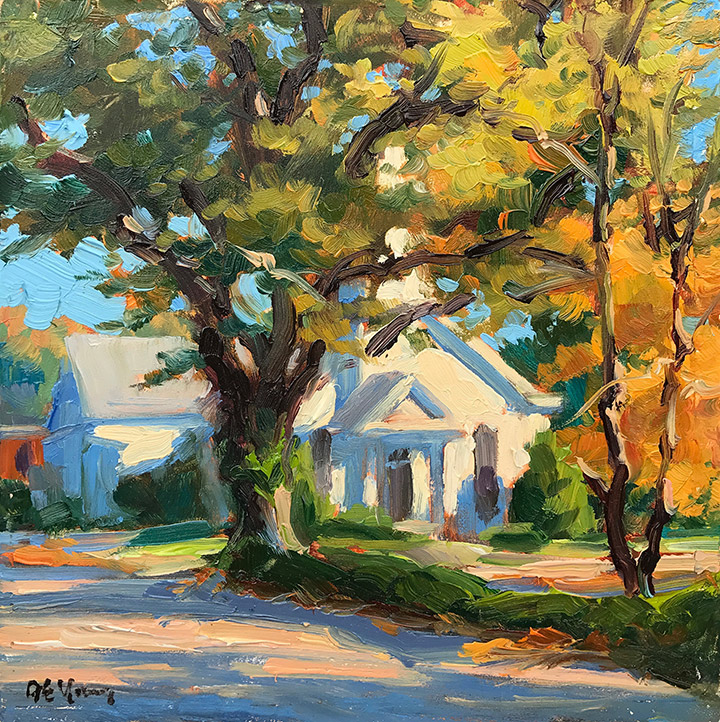 """In Autumn Light"", original 6x6"" oil painting. SOLD!"
