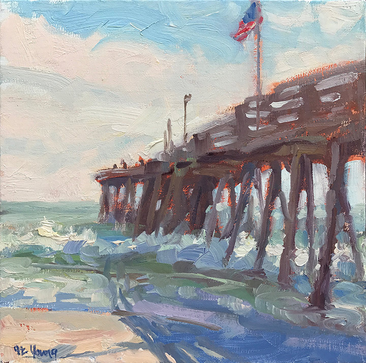 """Shadows of the Pier"", Oil on linen, 8x8""  Click here to bid!"