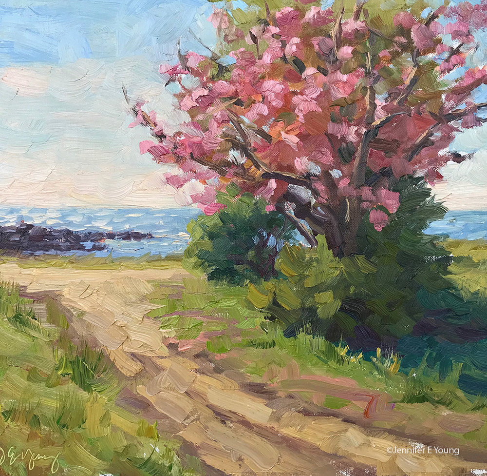 """Springtime at Windmill Point"", Oil on linen, 12x12"""