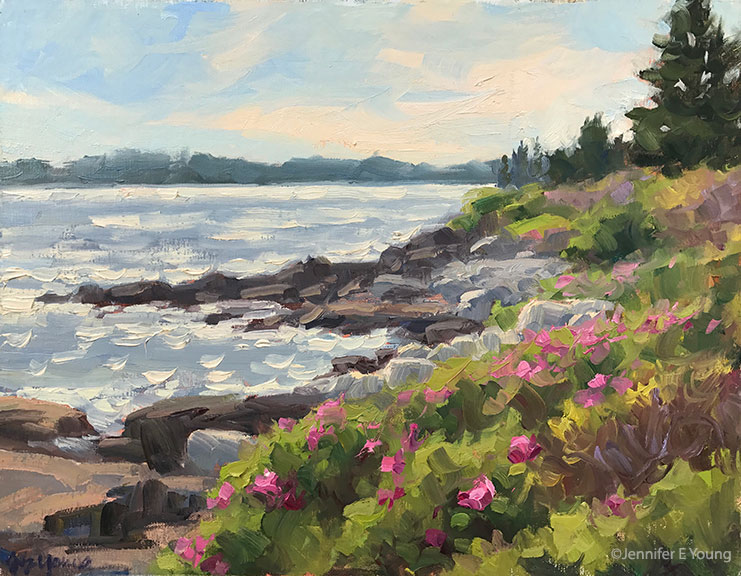 """Day's End, Lane's Island"", Oil on linen, 11x14"" ©Jennifer E Young"