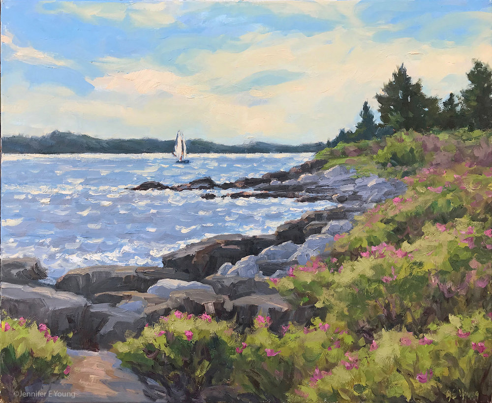 """Rugosa Coastline"" (SOLD) Oil on linen, 24x30"" ©Jennifer E Young"