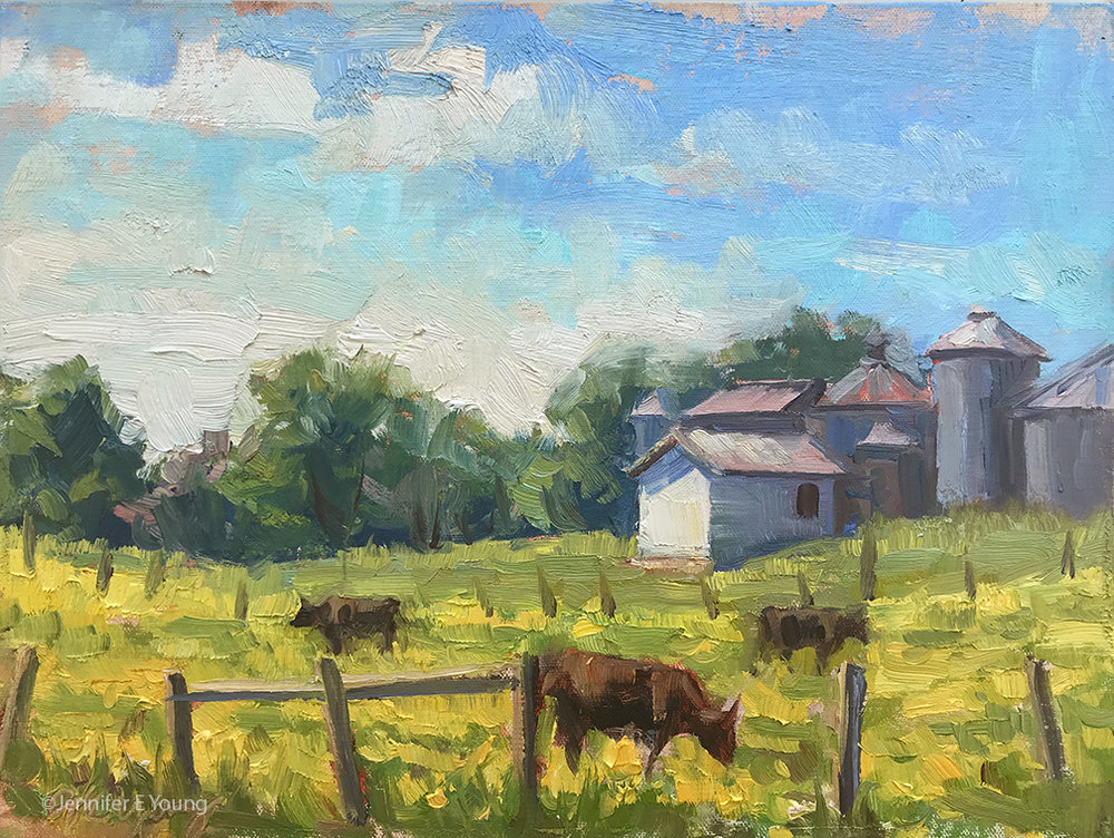 """Butter and Buttercups"", Oil on linen, 9x12"" ©Jennifer E Young"