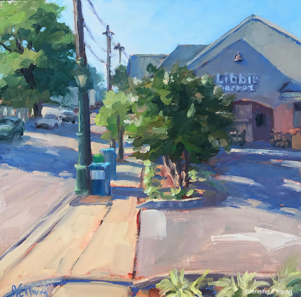 """This Way to the Market"" (SOLD) Oil, 12x12"" Painted at the 2017 Plein Air Westhampton"