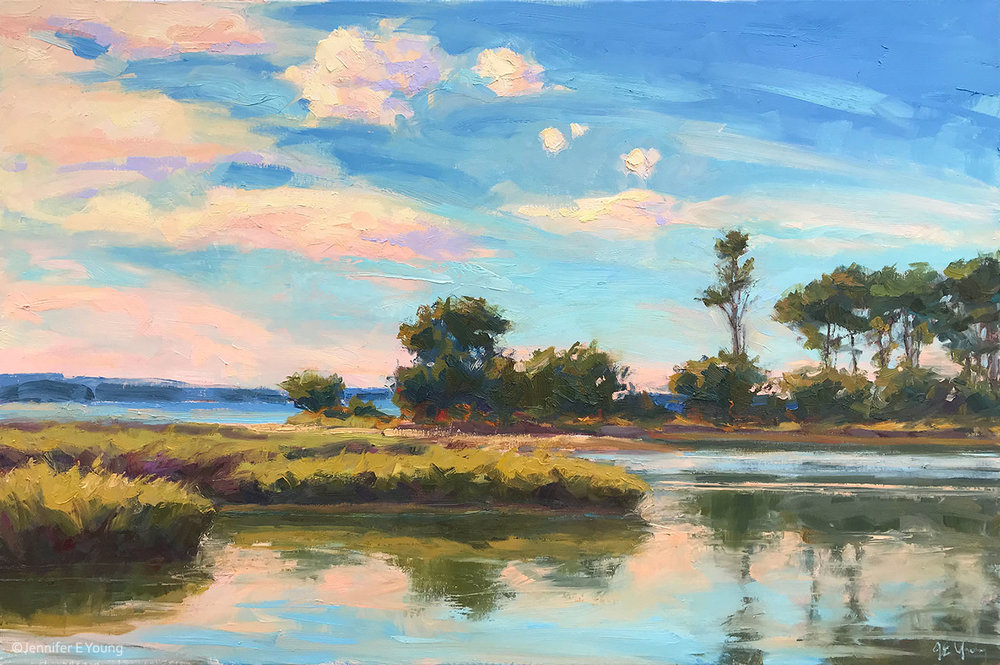 """Coral Reflections, Late Summer�, Oil on linen, 24x36� ©Jennifer E. Young"