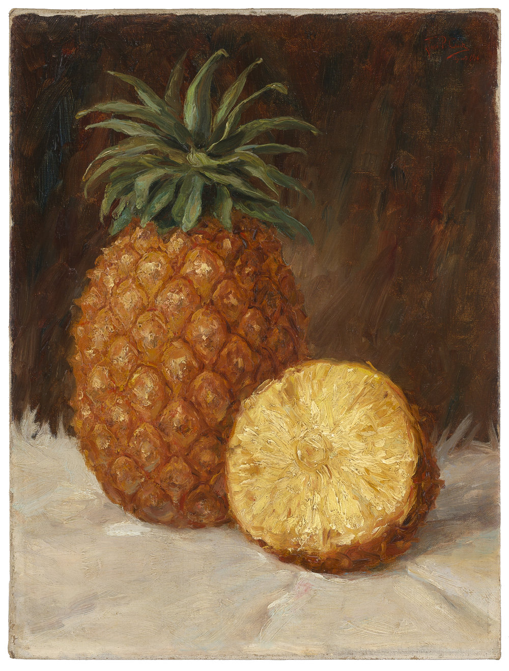 English School 19th Century Study Of Pineapples Bermuda Caribbean