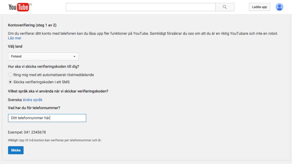 (OBS, om du aldrig laddat upp nåt tidigare till youtube så ber den dig först at skapa en kanal)