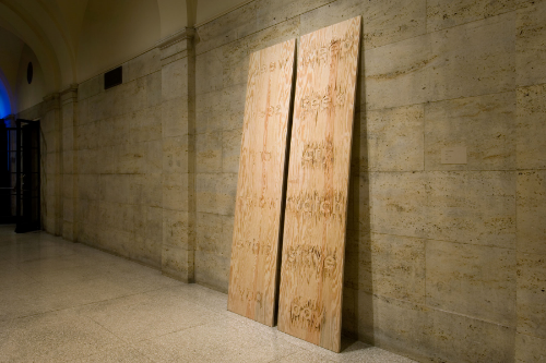 split    2005 carved plywood, two panels 96 x 24 x .75 inches each