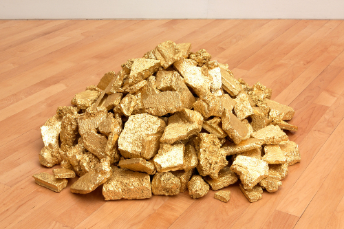 ruin  2001 concrete rubble, 23k gold leaf, about 24 x 36 x 36 inches