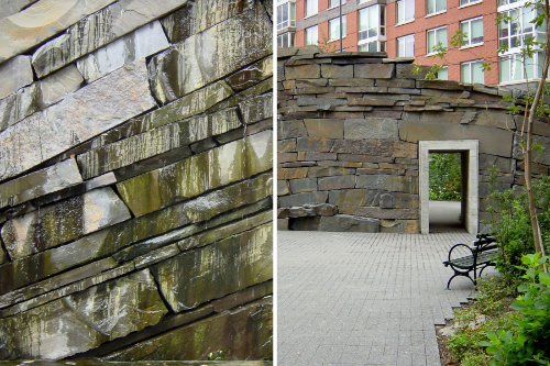 Stone wall (left), tunnel entrance to south park (right)