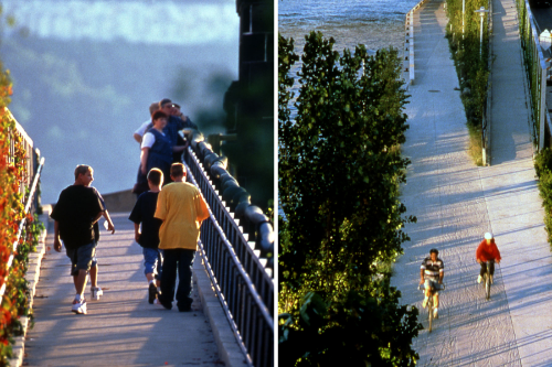 Top of pedestrian ramp  (left),  bottom of ramp  (right)
